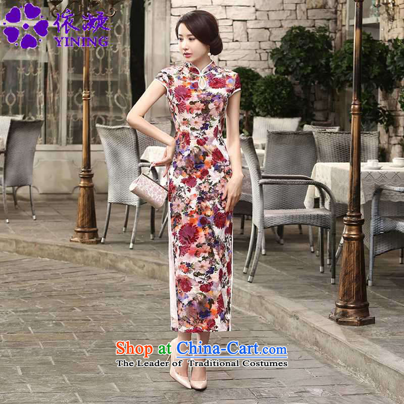 In accordance with the fuser trendy new for women elegant Superior Sau San improved short-sleeved long qipao�LGD/T0004#�RED�L