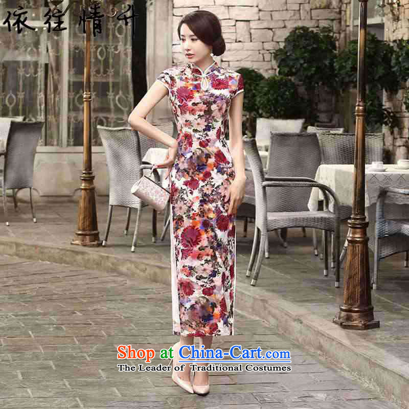 In accordance with the love in a trendy new for women collar tray clip stained Sau San Long Short-sleeved flag Tang dynasty cheongsam dress Sau San�LGD/T0004#�RED�M