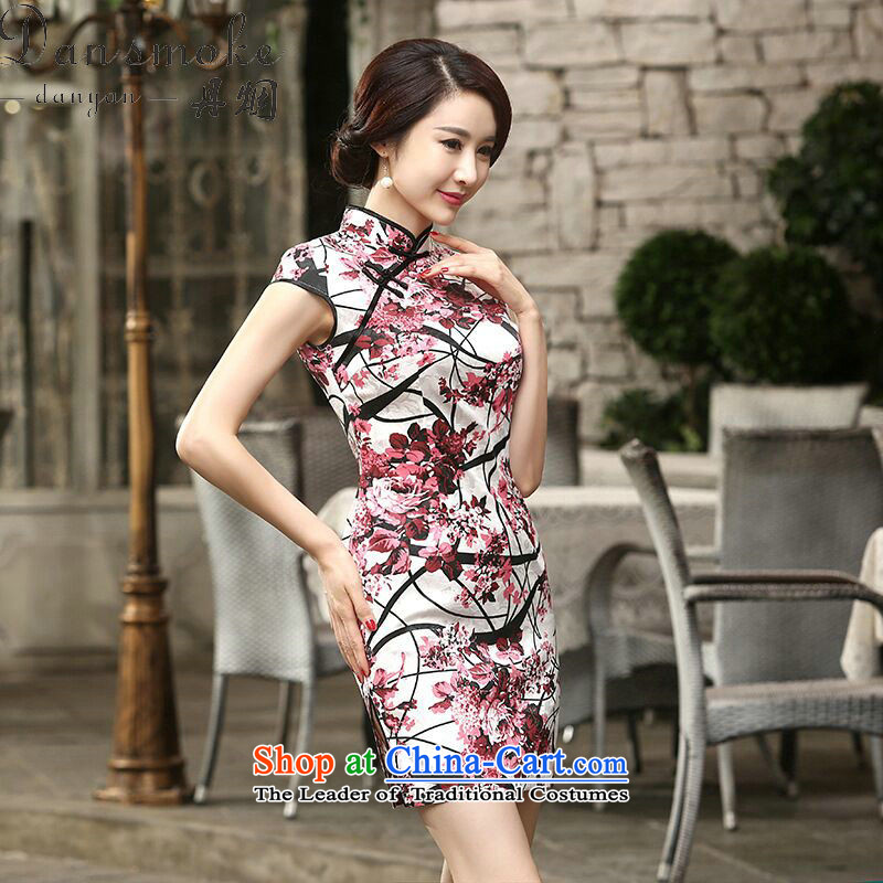 Dan smoke new short Chinese qipao Ms. collar disc clip cotton comfortable refined version of elegant qipao dresses light recalled that L