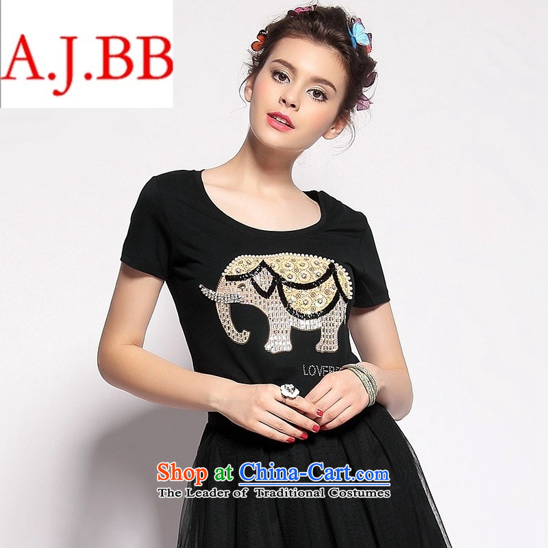 Orange Tysan *2015 New T-shirts cartoon elephant stamp nail-ju T-shirt female pure color, short-sleeved T-shirt Q151213 black�L