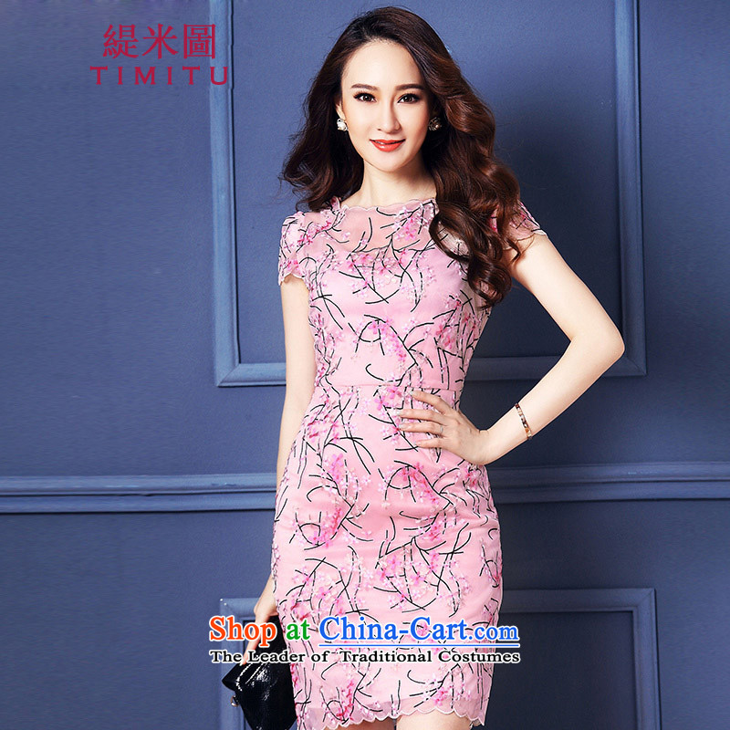 Economy figure 2015 Summer large new women's dresses short-sleeved Sau San package and high-end luxury Lace Embroidery cheongsam thin pink�3XL graphics
