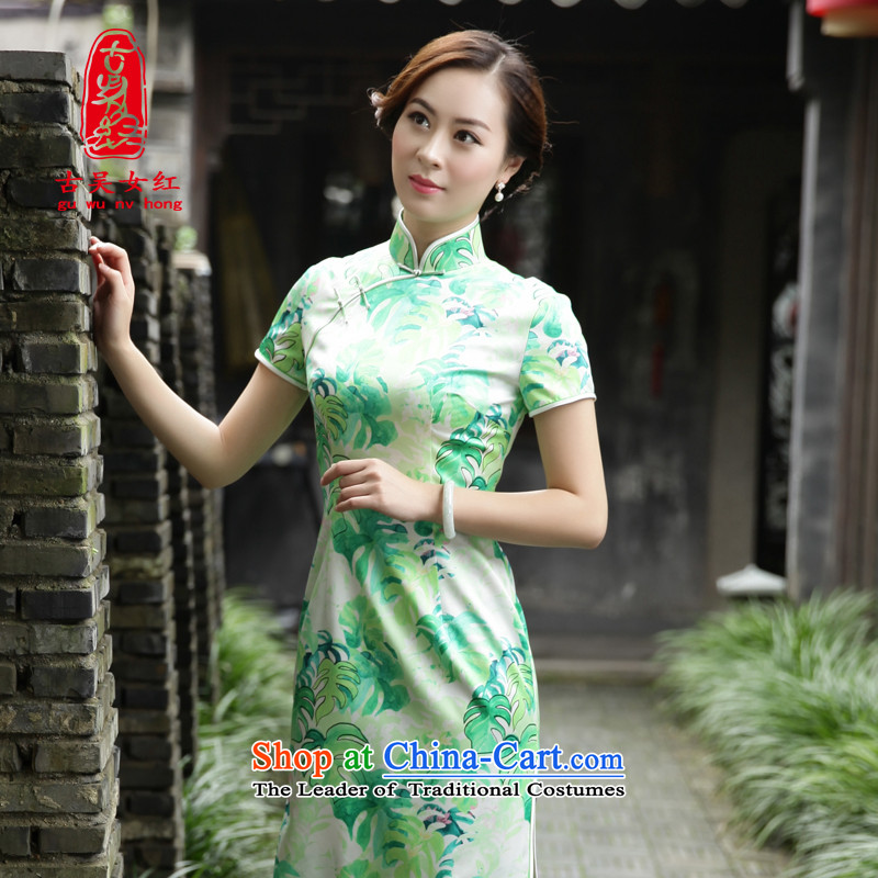 The Wu female red autumn 2015 silk cheongsam dress with medium to long term of daily antique dresses female Sau San dresses�39615A102 XXL