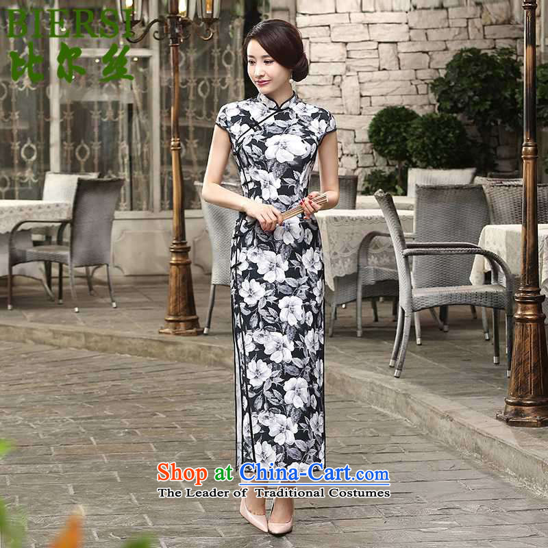 The Bill was a trendy new for women is pressed to collar Classic short-sleeved     snap-tang long qipao�Lgd/c0014# -A black�M
