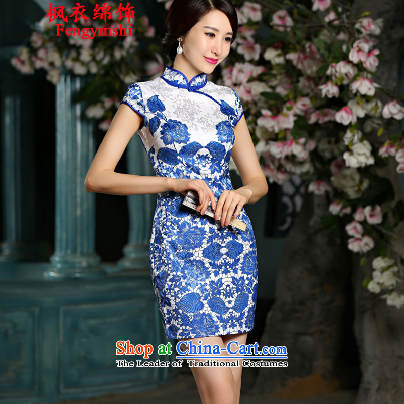 Maple Yi Min International 2015 new retro short of porcelain Sau San qipao skirt dresses 9024#NC321 blue. XL