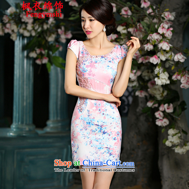 Maple Yi Min International 2015 new cheongsam dress circle style qipao 9022_ improved Sau San embroidery NC321 XXL color red.