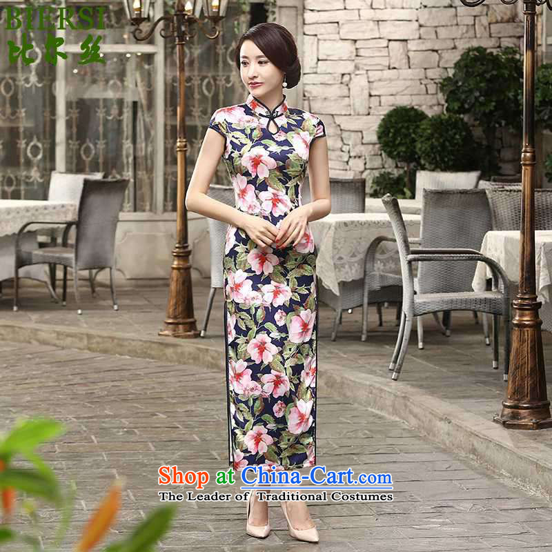 New stylish silk bill of ethnic improved women's Mock-neck stamp Sau San short-sleeved long cheongsam dress燣GD_C0018_爁igure燤