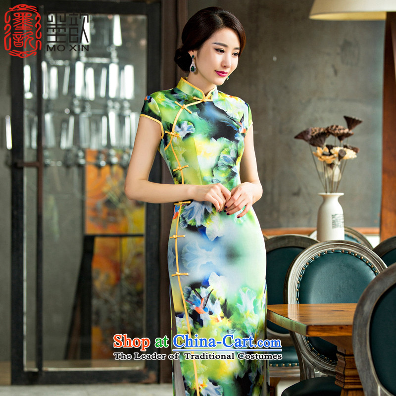 The first Hong Kong New 姝� daily improved cheongsam dress autumn replacing cheongsam dress qipao gown Qipao Length elegant聽QD 221聽green聽2XL