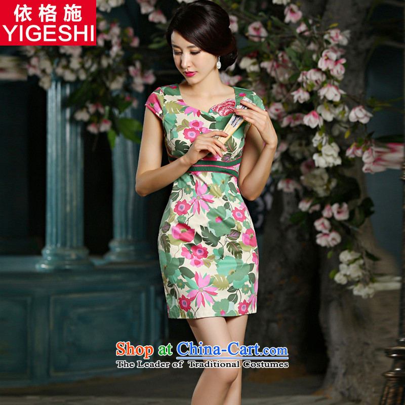 In accordance with the new 2015 Gorsch Tang Dynasty Large stylish improved qipao Sau San stamp summer short-sleeved qipao skirt package and dresses female picture color S