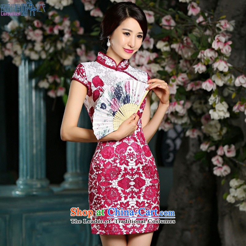 Sepia qipao 2015 new summer for women PORCELAIN BEADS nail video thin short, dresses blue燣