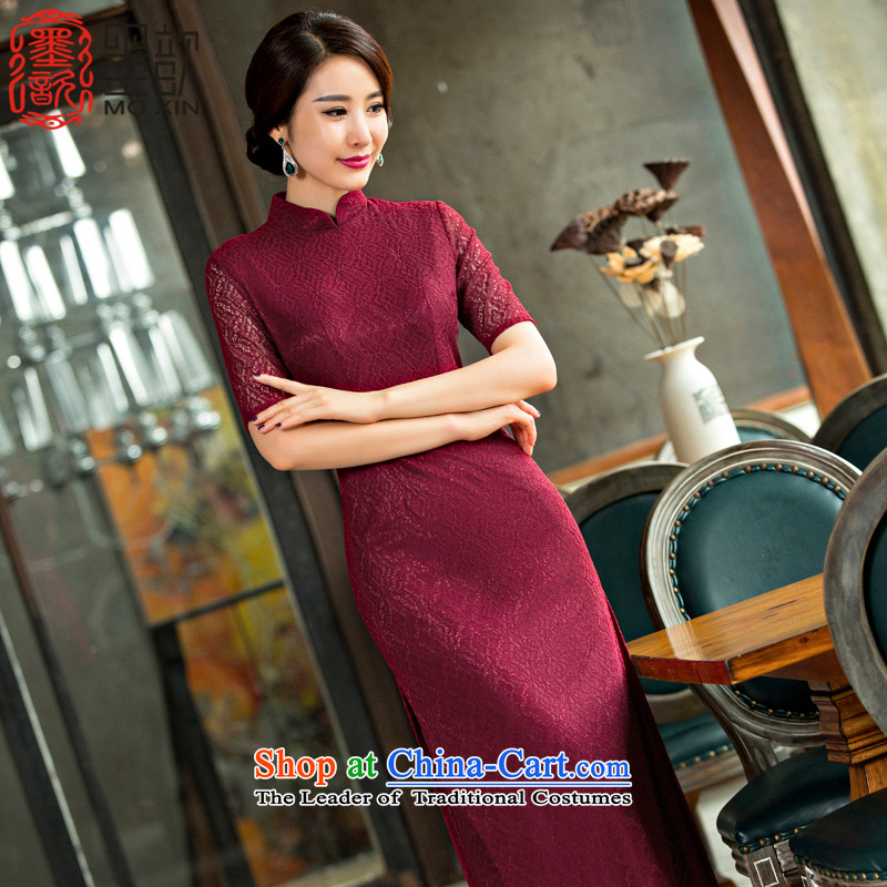 Ink from Tung爍ipao ? 2015 improved retro style cheongsam dress autumn long qipao lace cheongsam dress suit燪D 248燿eep red燤