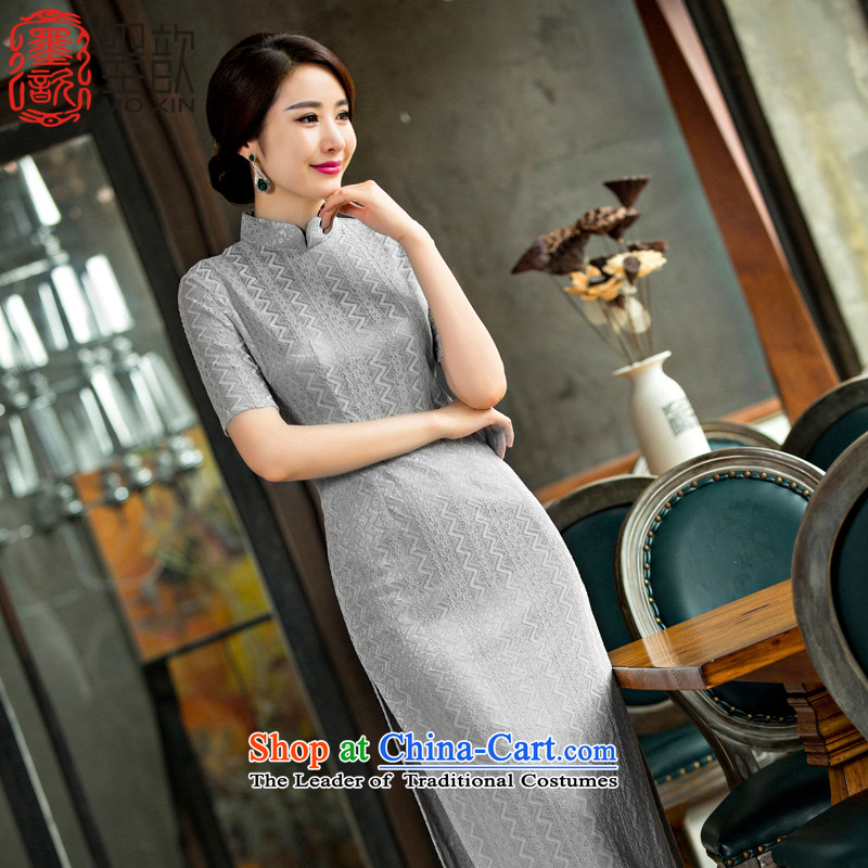 The ink on the day-to?-day 2015 歆 Pui long qipao improved lace retro cheongsam dress the new summer cheongsam dress dresses?QD 247?Light Gray?2XL
