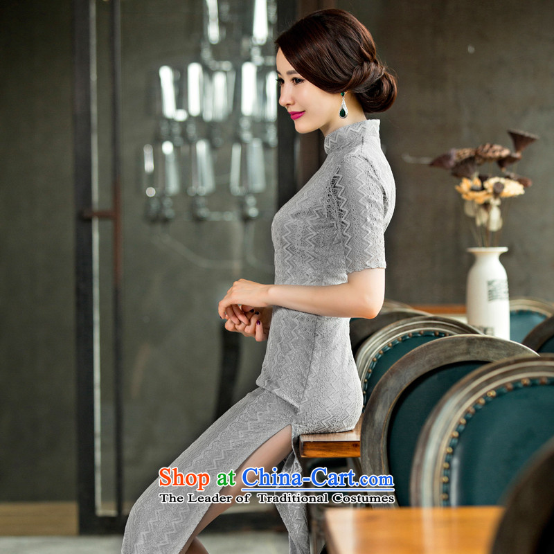 The ink on the day-to-day 2015 歆 Pui long qipao improved lace retro cheongsam dress the new summer cheongsam dress dressesQD 247Light GrayInk 歆 2XL, (MOXIN) , , , shopping on the Internet