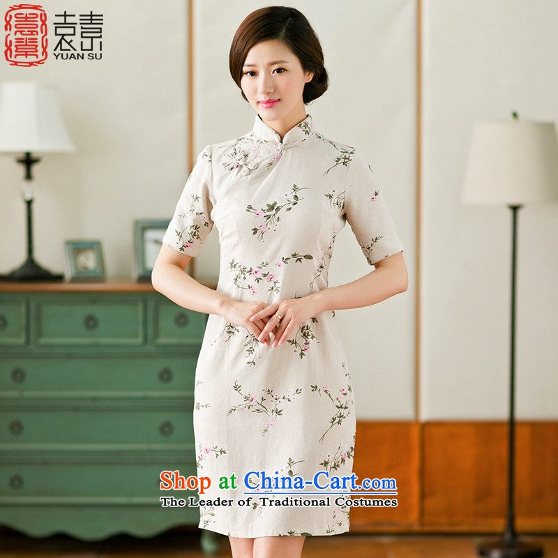 Mr Yuen So Crazy Sex爍ipao Summer 2015 retro cotton linen arts cheongsam dress girl cheongsam dress improved SAIKA燲XL