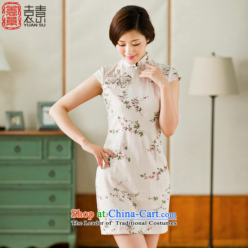 Mr Yuen So Crazy Sex half sleeve 2015 new cheongsam dress summer cotton linen Stylish retro daily improved qipao dresses YS Crazy Sex- L