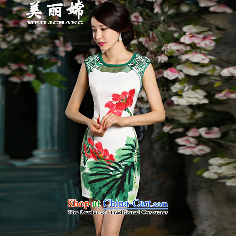 The beautiful truth 2015 Amoi retro look like Embroidery Stamp Sau San improved cheongsam dress green?S