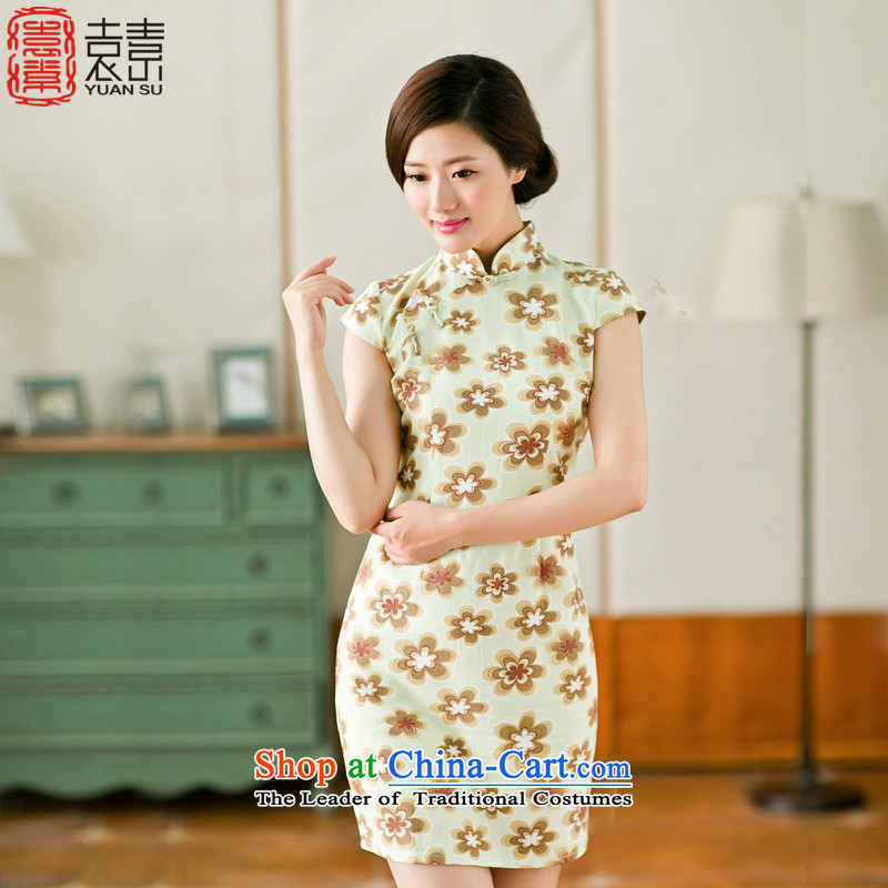 Yuan of�15 Summer daisies new cheongsam dress cheongsam dress retro improved daily ethnic cotton linen dresses female燳S爈ight green燲L