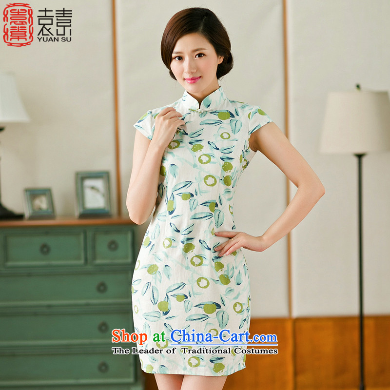 Mr Yuen Sui Arabic New Pixel-to-day summer improved qipao retro ethnic women saika cheongsam dress cheongsam dress female YS white green L