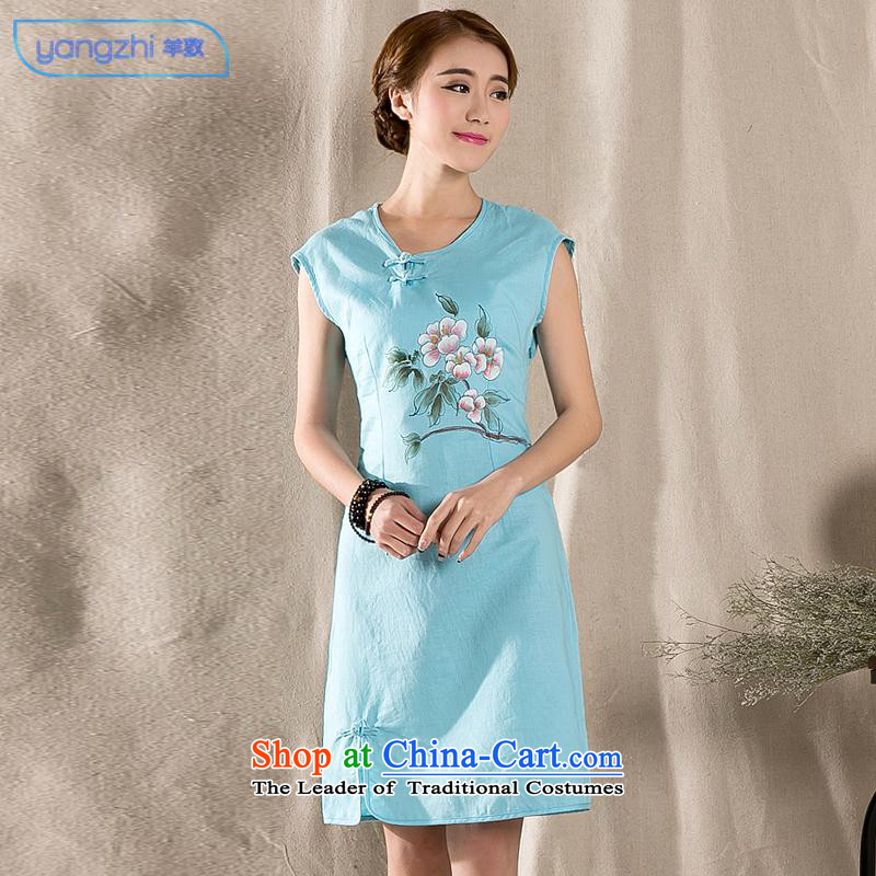 The elections as soon as possible to the arts retro sheep cotton linen dress hand painted cotton linen Sau San improved cheongsam dress skyblue L