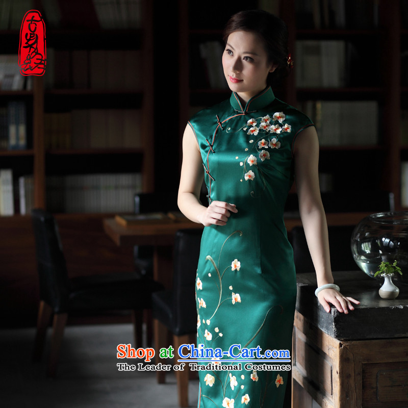 The Wu female red�15 Summer new retro hand embroidery silk cheongsam dress long-to-day, Sau San banquet dinner dress Army Green燤