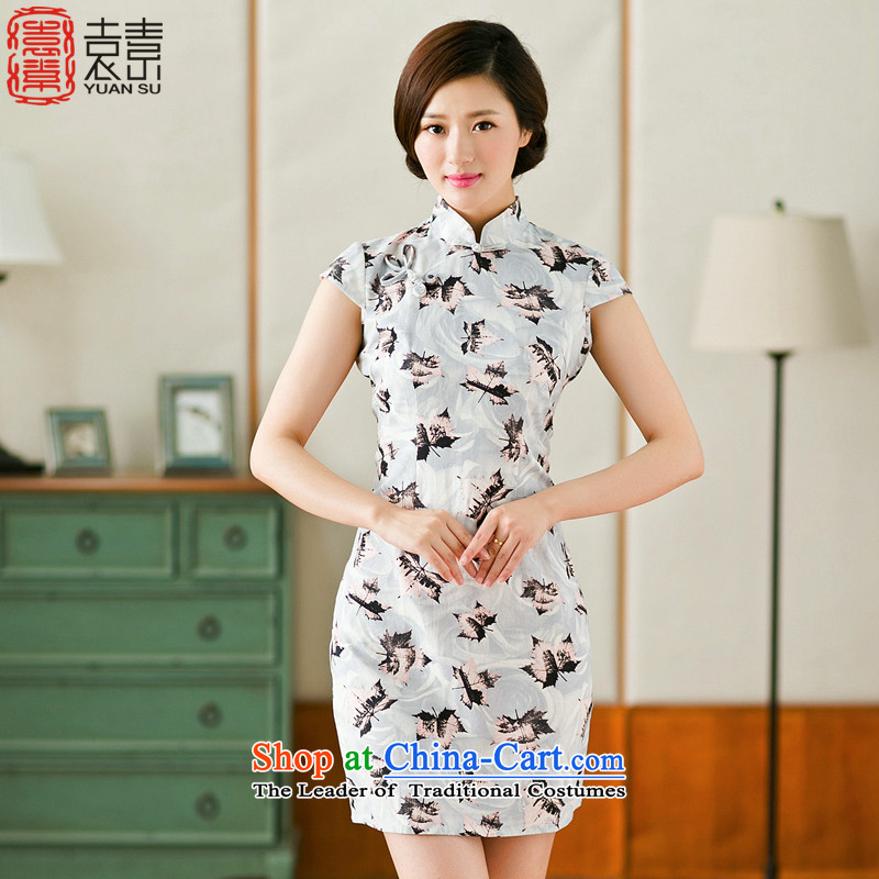 Yuan of Maple Leaf retro women cheongsam dress the new summer daily improved qipao cotton linen arts cheongsam dress爏uit YS燣