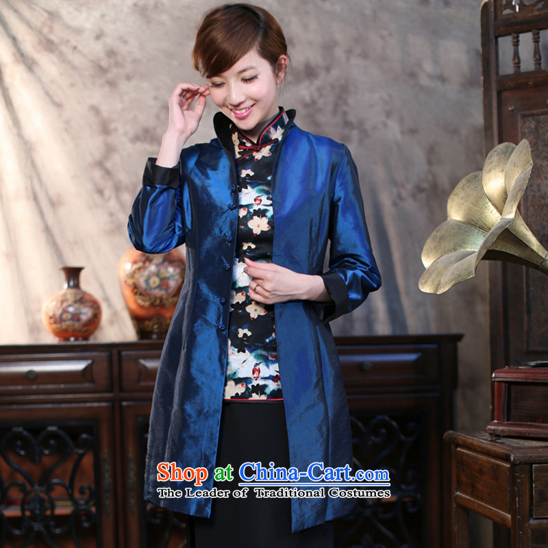 Dan breathing new for women on both sides of the Tang dynasty during the spring and autumn in Ethnic Wind Sau San long Ms. windbreaker collar up black and blue jacket detained Duplex�L