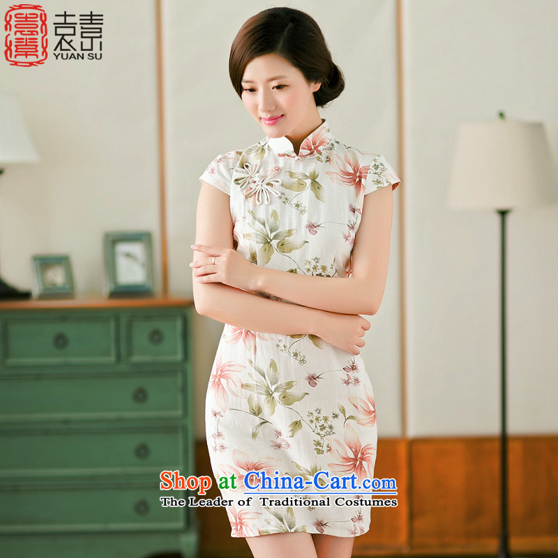Mr Yuen So Lok sponsors爏ummer 2015 cheongsam dress qipao improved daily new temperament cotton linen dresses of the Republic of Korea Air women燳S燘LUE燲L