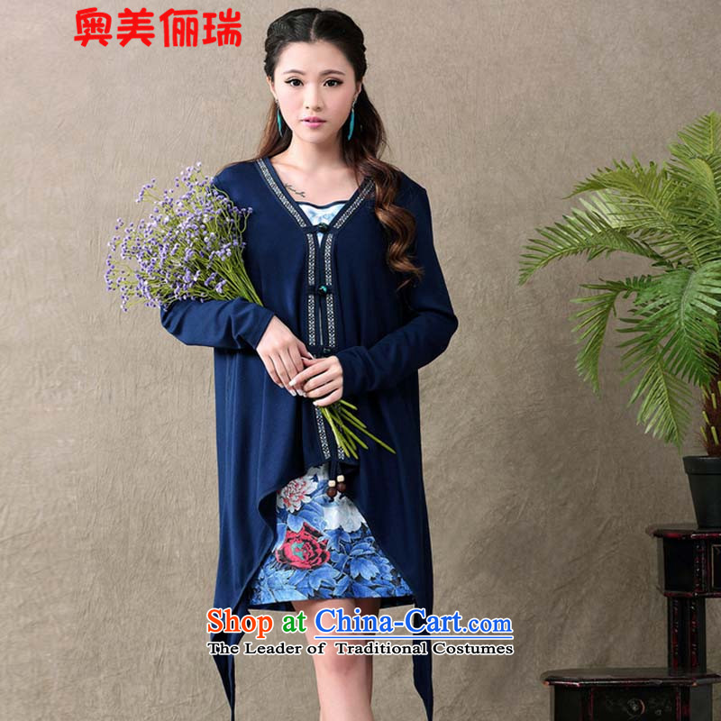 Ogilvy 2015 summer, 158 new ethnic retro qipao gauze stamp long-sleeved dresses two kits female blue�XXL