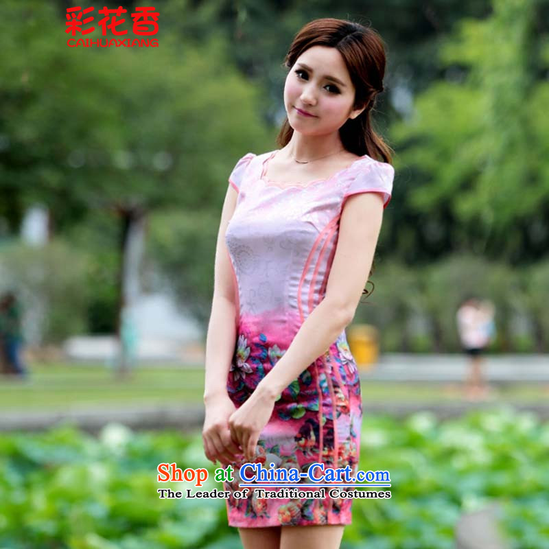 The fragrance of 2015 New Multimedia stamp of qipao gown retro-color modern Chinese short of Pink dresses�XL