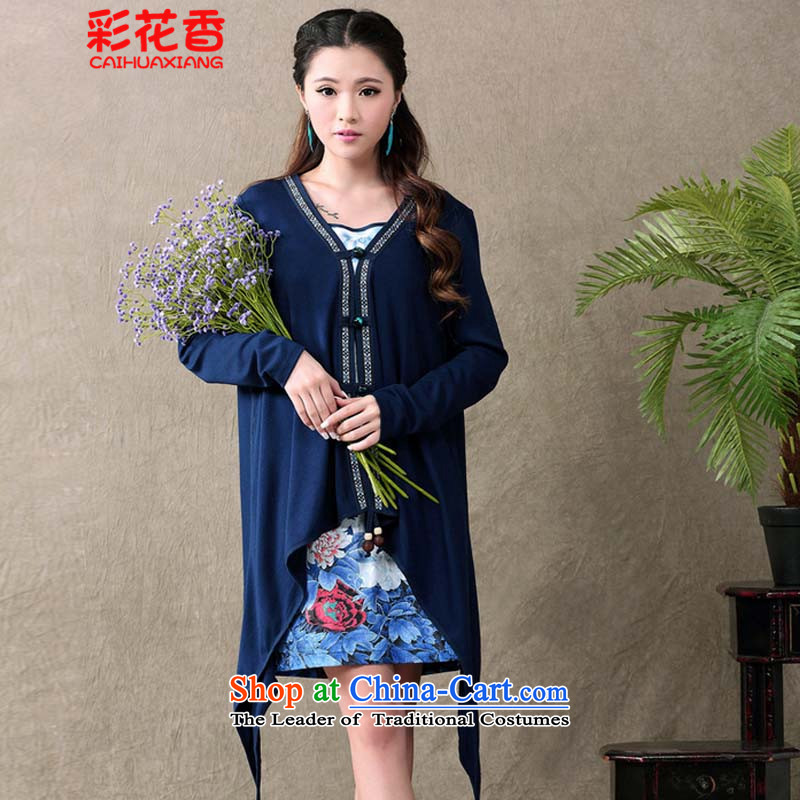 Summer Scent Multimedia 2015 new ethnic retro qipao gauze stamp long-sleeved dresses two kits female blue燲XL