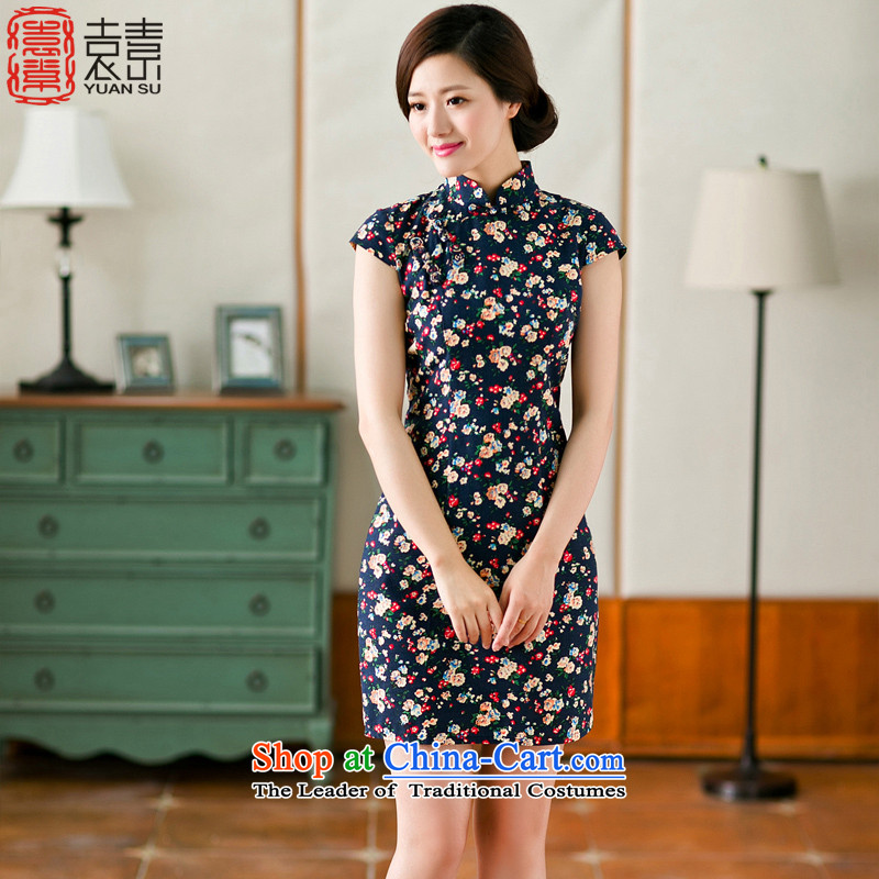 Yuan of the Lok Ying�15 cheongsam dress qipao summer new stylish retro cotton linen improved cheongsam dress燳S燚ARK BLUE燲L
