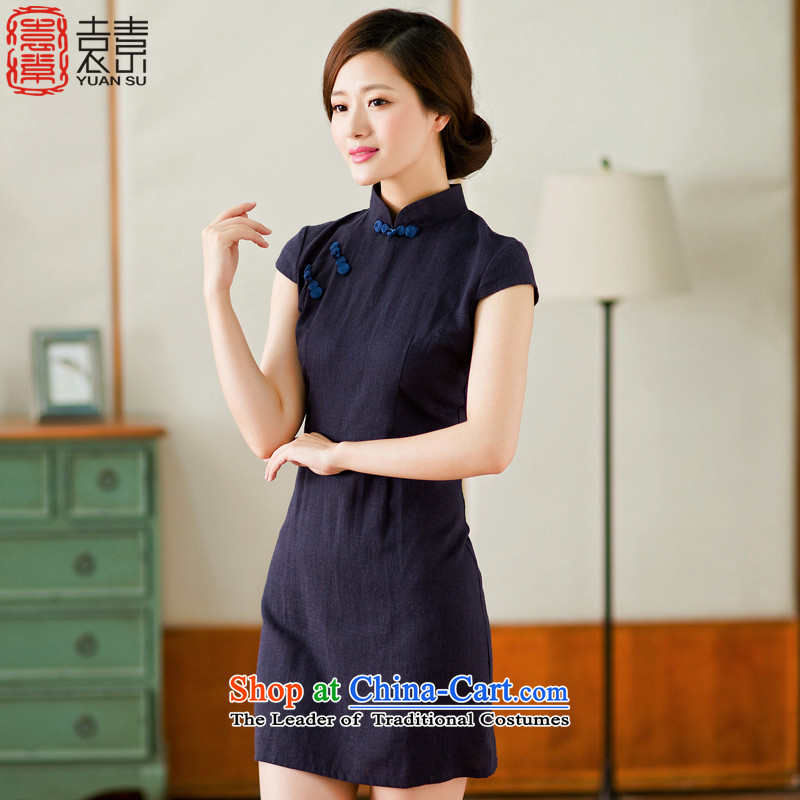 Mr Yuen modesty Arabic燾heongsam dress new 2015 daily qipao improved retro solid color cotton linen, qipao dresses燳S燚ARK BLUE燲L