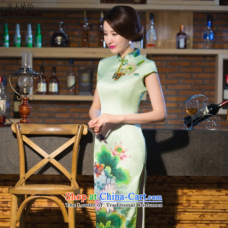 The new spring 2015 skirt QIPAO_ long cheongsam dress silk garments show color picture dress燲L