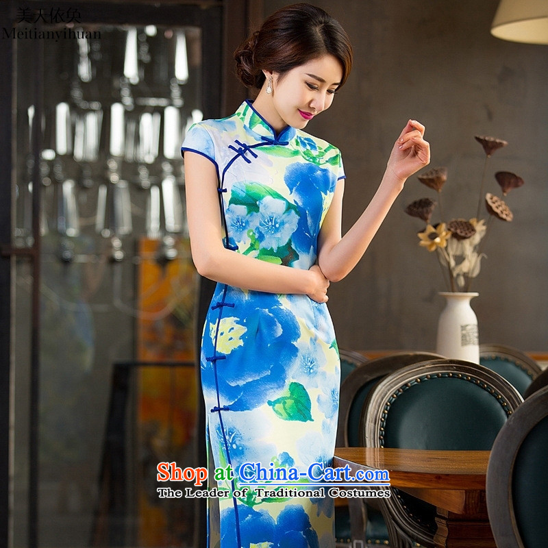 Summer 2015 new cheongsam daily long skirt retro Sau San banquet cheongsam dress sexy picture of Qipao color L