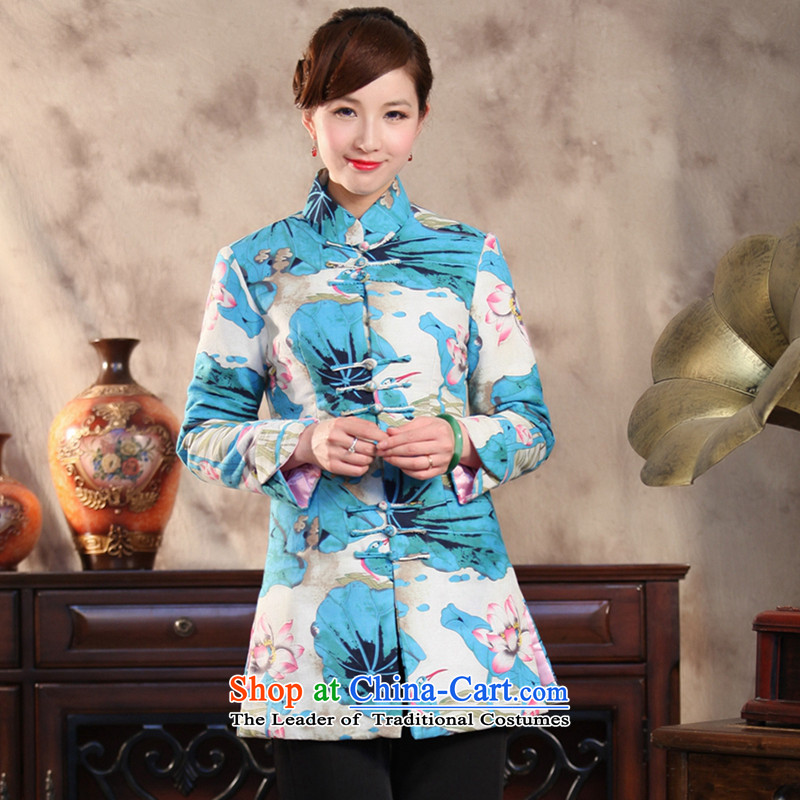 Floral autumn and winter New China wind improved disk detained Buddha spent manually retro. Ms. Long Tang dynasty 泾蜮 jacket figure color燣