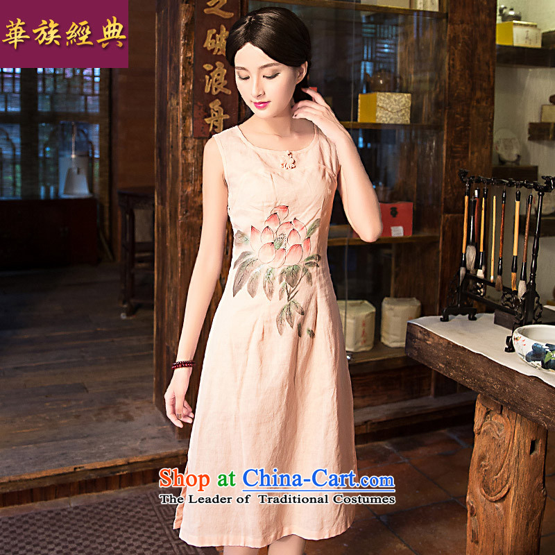 China Ethnic classic new spring and summer, improved daily linen qipao antique dresses video thin elegance Sau San and pink XXL