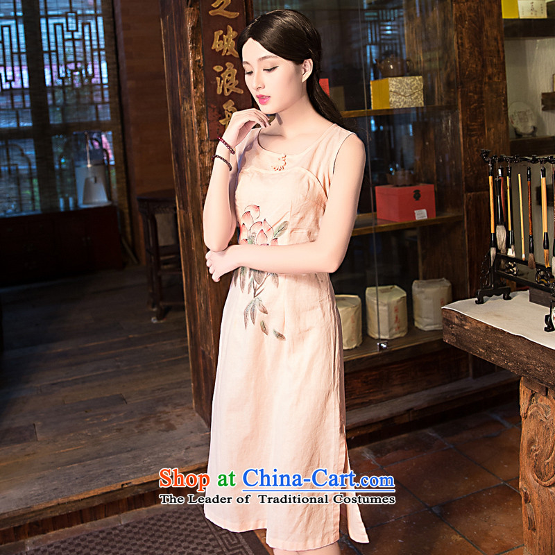China Ethnic classic new spring and summer, improved daily linen qipao antique dresses video thin elegance Sau San and pink XXL, Wah-Classic (HUAZUJINGDIAN) , , , shopping on the Internet