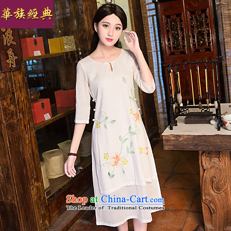 China-Tang dynasty improved classical fashion, summer cotton linen cheongsam dress loose Chinese cheongsam dress of female White聽XXL