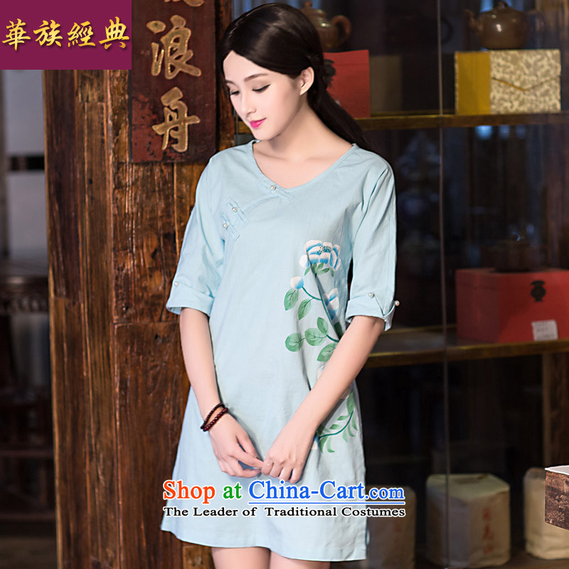 China-Tang dynasty improved classical fashion, summer cotton linen cheongsam dress loose Chinese cheongsam dress female light blue燲XL