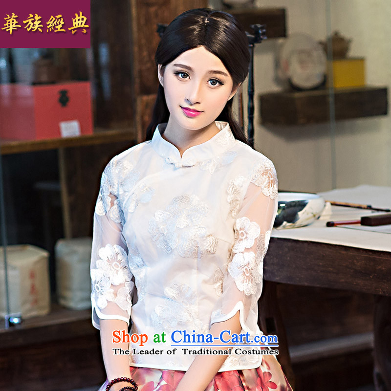 China Ethnic classic Chinese neo-classical summer Ms. Tang dynasty blouse of qipao stylish summer republic of korea wind 7 Cuff White聽XL