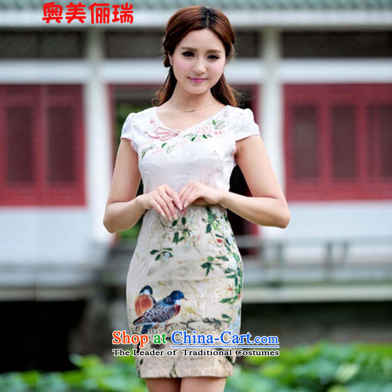 Ogilvy 2015, new 158 stamp of qipao gown retro-color modern Chinese short skirt, Green M