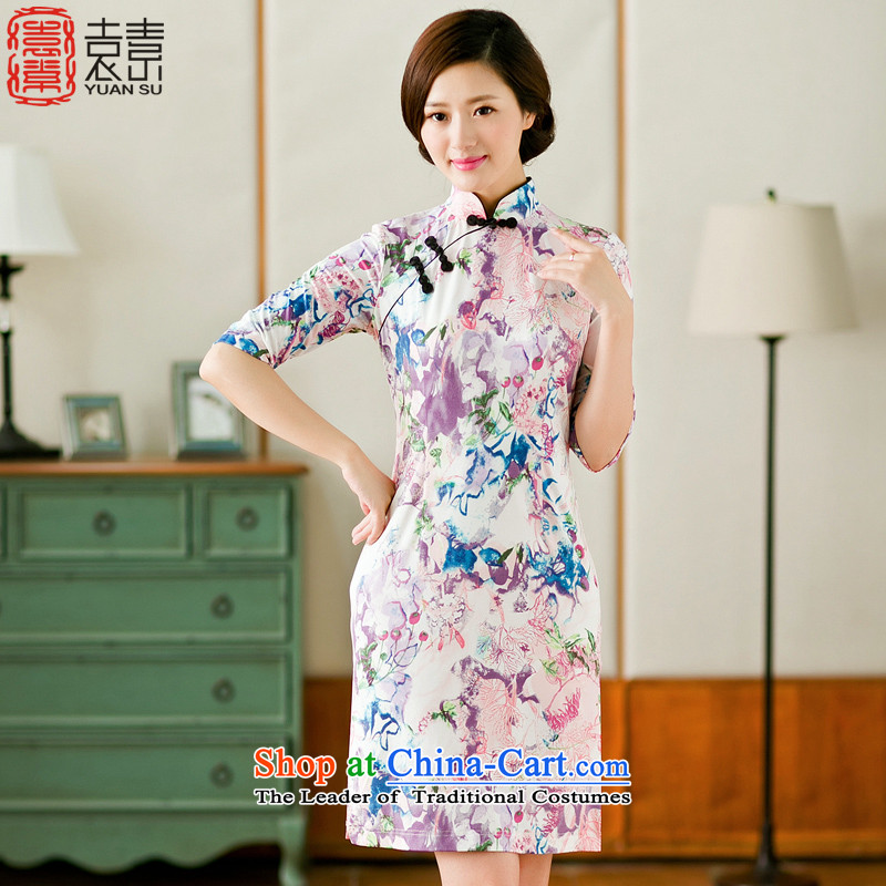 Yuan of flower whispering爏ummer 2015 Stylish retro in style qipao skirt cuff new improved cheongsam dress suit Chinese summer燳S燬UIT燲XL