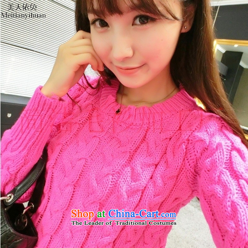 The autumn and winter new retro-thick thick line twist sweater female head high waist short sleeve, forming the basis of knitting yellow are code