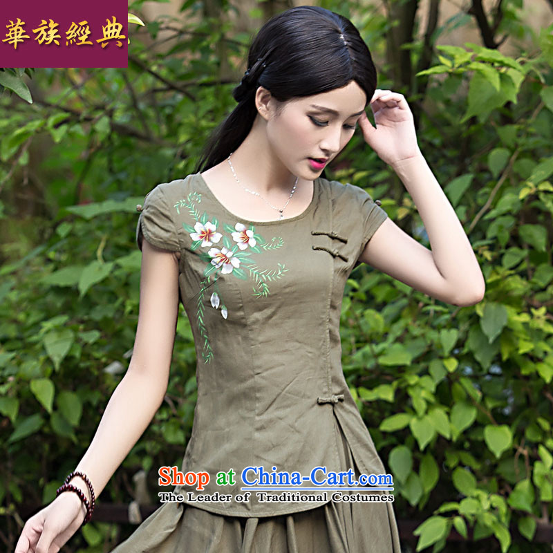 Chinese New Year 2015 classic-Tang Dynasty Chinese Women's Summer Han-linen clothes + skirts qipao 2 Piece Green - kit?S