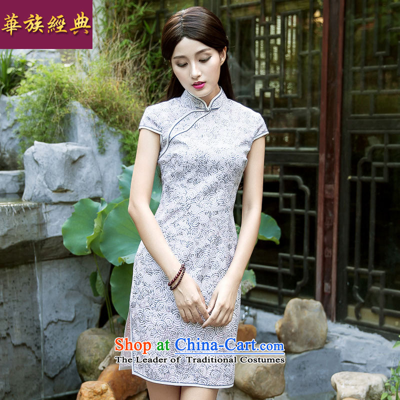 China Ethnic classic 2015 Summer retro improved women's ethnic stylish new short of daily cheongsam dress of heartXL