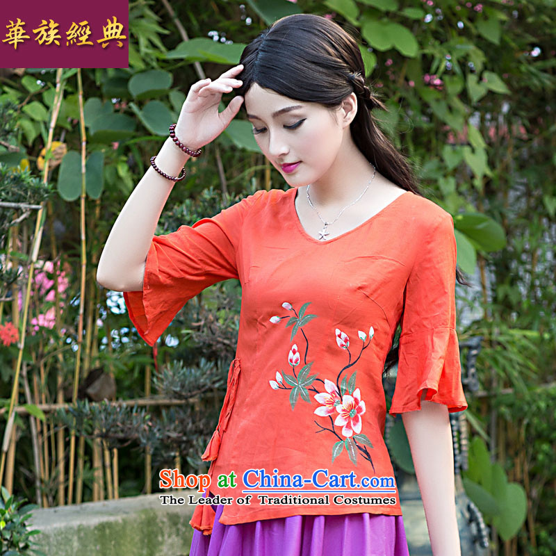 Chinese New Year 2015 Classic Serb woman cotton linen Han-Chinese Antique Summer Tang dynasty improved picture color T-shirt, Ms. qipao?M