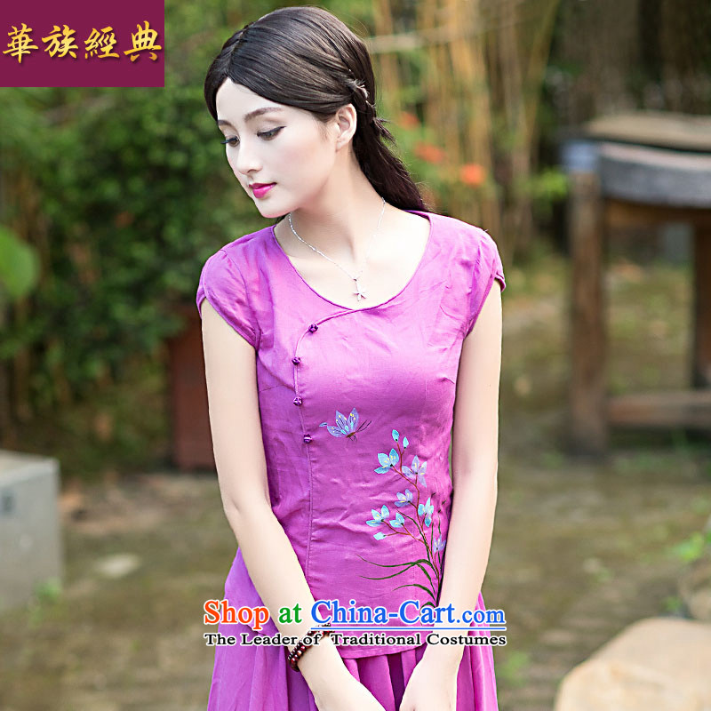 China Ethnic classic new summer 2015 for women cotton linen dresses shirt Chinese Han-tang T-shirts and flax shirt + skirt XXL