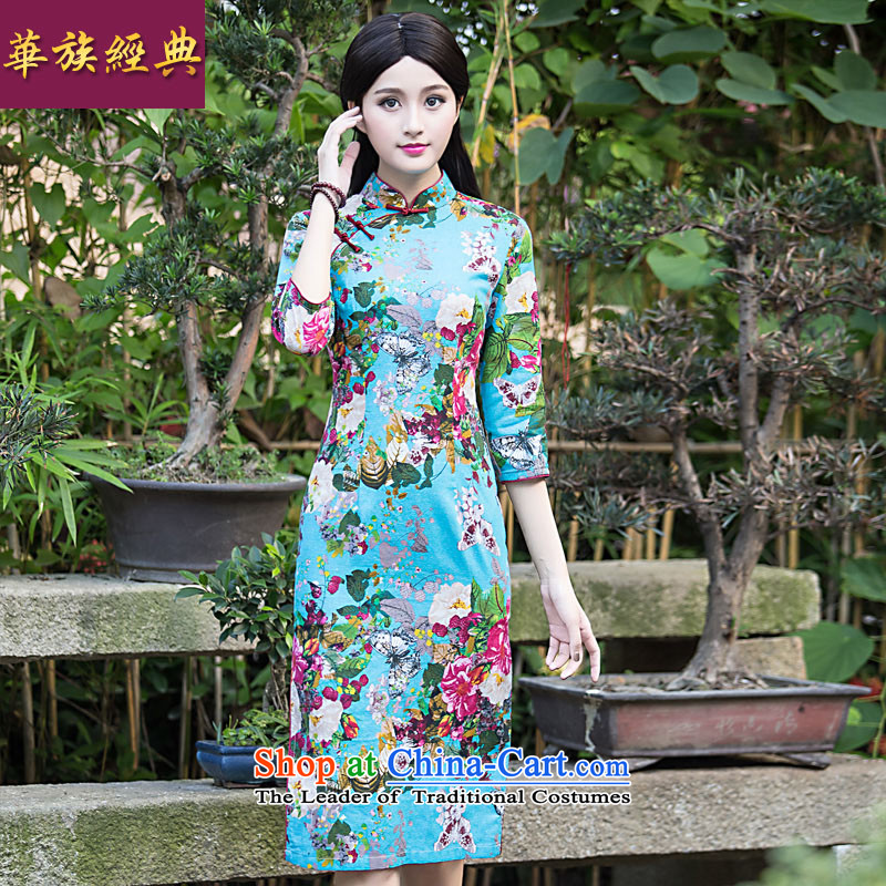 Chinese New Year 2015 classic ethnic Chinese Tang dynasty summer daily improved cheongsam dress long thin Sau San female blue video playmate燤