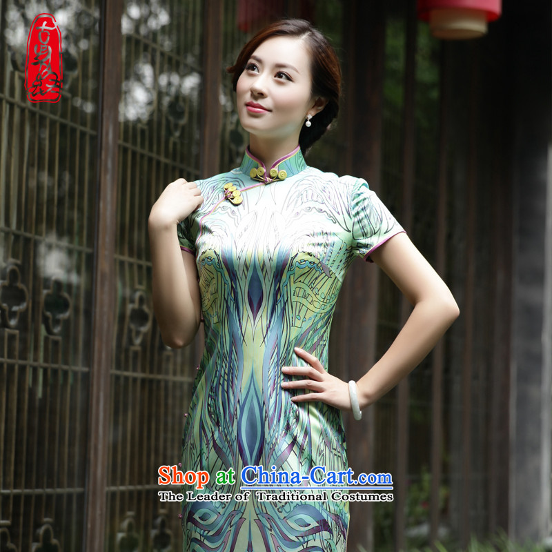 The Wu female red燼utumn 2015 New Silk cheongsam dress with long-in women's daily Sau San dresses short-sleeved�638A101 M