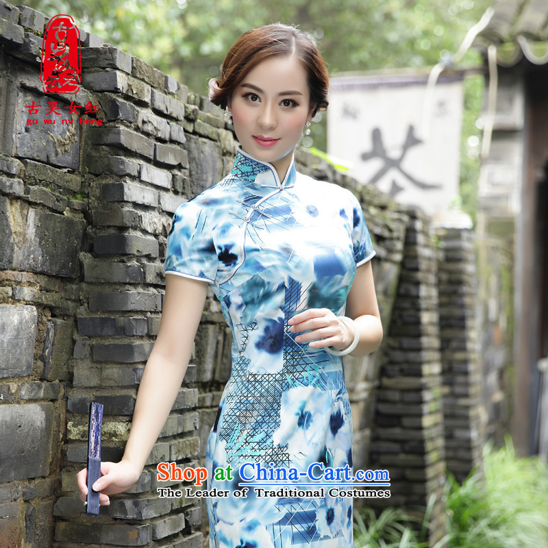 The Wu female red?autumn 2015 new boxed Silk Cheongsam. Long-Sau San women's daily improved dresses short-sleeved?39656A102 M