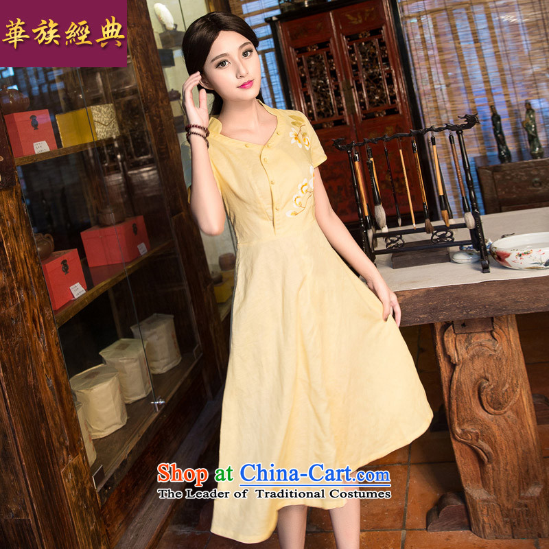 China Ethnic classic 2015 Summer Art Nouveau female cotton linen dresses skirts, short-sleeved improved Sau San cheongsam dress bright yellow燬